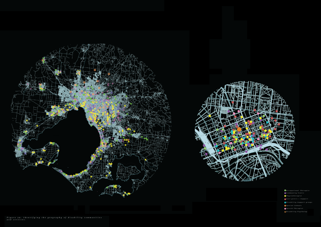 Two circlular mappings. The one on the left represents Melbourne Victoria and the spread out locations of disability services. The one on the right is smaller, representing colourful dots within Melbourne CBD.