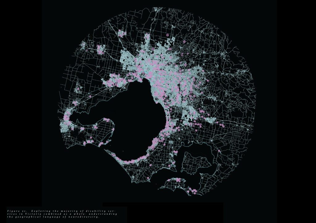 A mapping of Melbourne Victoria. The map is in a circular form and blue line work. The pink dots represent the places which assist persons with disabilities.