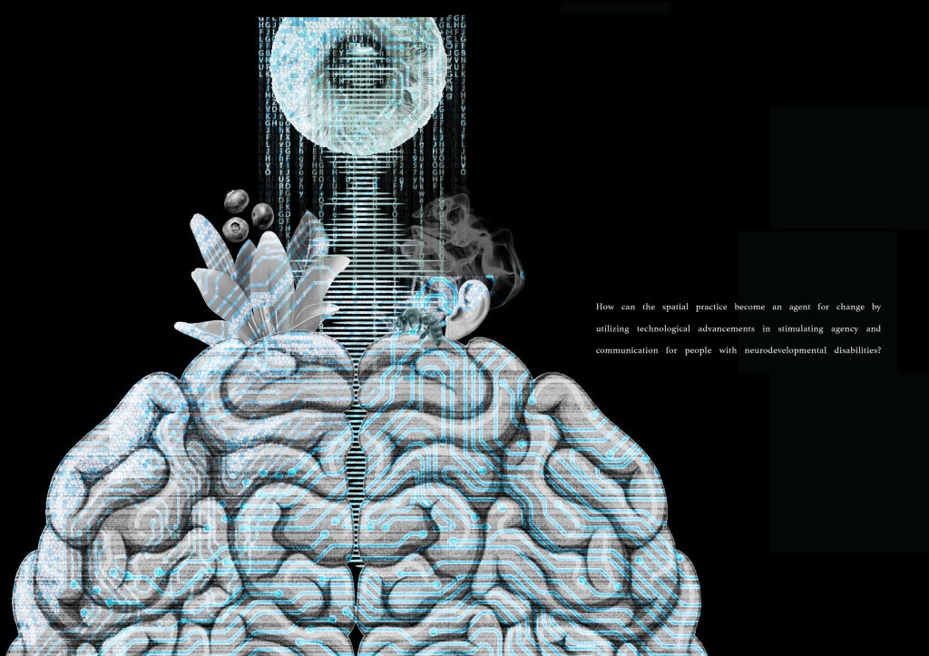A black and white A brain with a blue overlay of technology. A flower to the left side and smoke and ear to the right revealing the senses. A eye on top of the image with computer decoding.