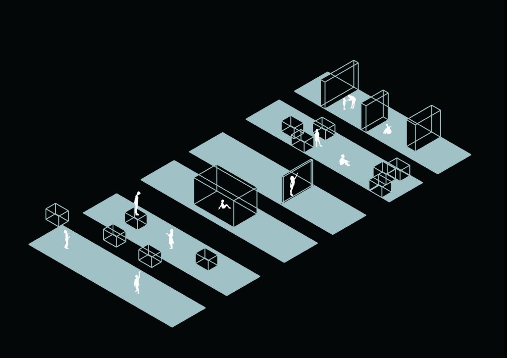 Representation of the gap. A linear form of blue blocks. The blocks represent the users of the space. The first shows the difficulty of researching, second shows a person in control standing on the box, the third a person in a box, the forth a person research a verticle wall, the forth 2 people sitting within cubes and the fith shows partitions seperating people.
